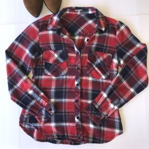 Charlotte Russe Black, Red & White Flannel Shirt